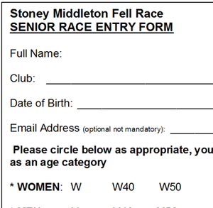 Fell Race Entry Form